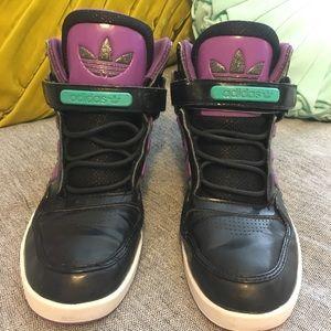 Adidas High Tops Black Purple Teal